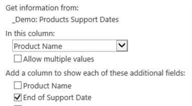 """SQL Version:End of Support Date�  - Lookup column and additional fields"