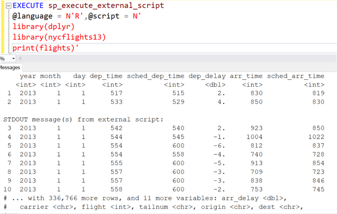flights data using print() function in SQL Server 2017 and R.