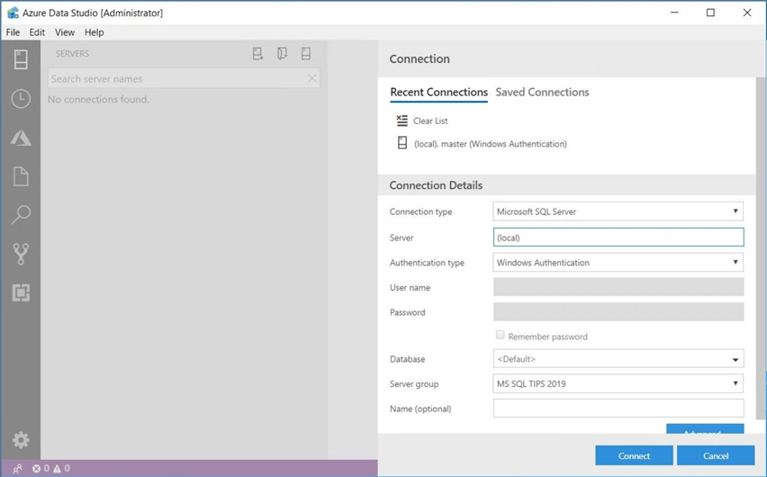 Azure Data Studio - Install Program - Recent Connections - Use the recent connections pane to select an entry.