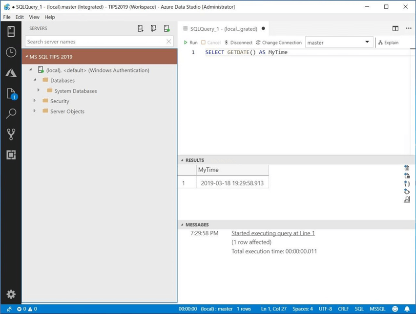 Azure Data Studio - Install Program - Query Window - The query window can be executed from an active connection.