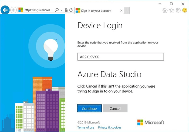 Azure Data Studio - Install Program - Device Login - Use the code to validate the laptop.