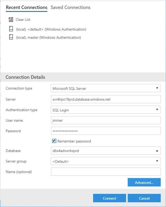 Azure Data Studio - Install Program - Enter Connection Details - We are using standard security to connect to the user database.
