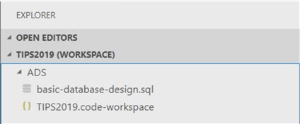 Azure Data Studio - Install Program - Explorer Pane - This pane list any of the files listed in the workspace folder.  Only one main folder can be associated with a workspace.
