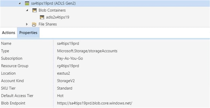 The Azure Blob Storage Account with on ADLS blob container.