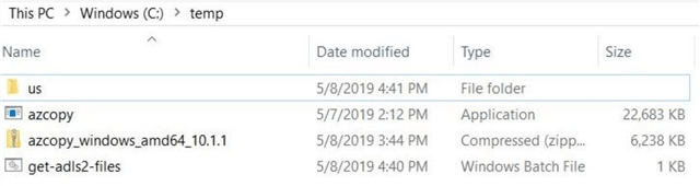 Downloading the most recent version of AzCopy from Microsoft.