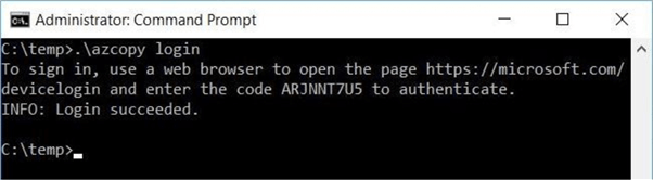 Login to Azure to start the transfer process.