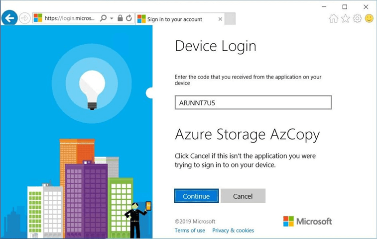 Device Login website from Microsoft.