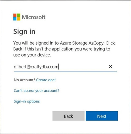 Sign into Azure with non Microsoft Services account.