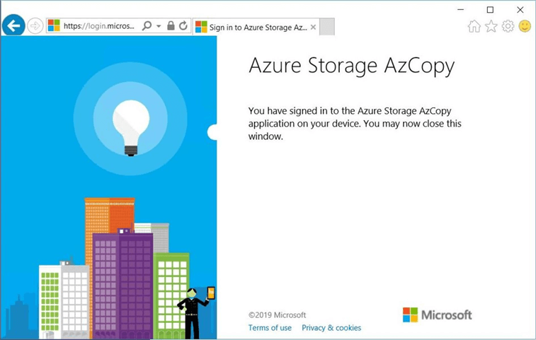 The login to Azure Storage is now complete and succesful.