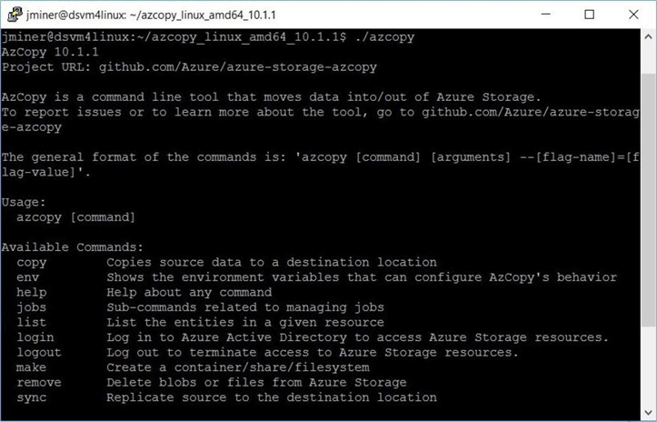 Newest version of azcopy utility has been installed.