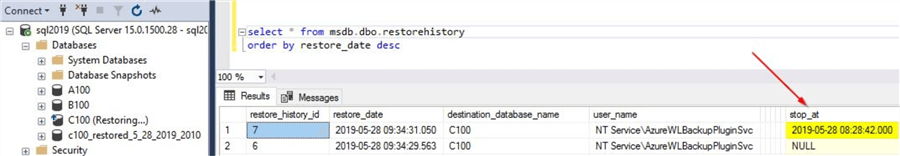restore databases with azure backup