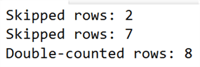The output quickly showed multiple cases where rows were either skipped or double-counted.