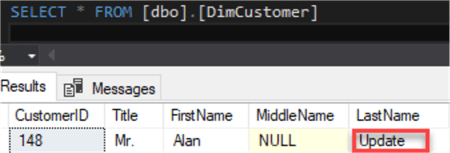 Image of Last Name record updated in the DimCustomer table