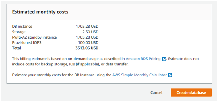 AWS RDS - Cost Estimates