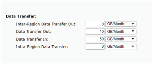 AWS RDS - SQL Server Data In and Out volume settings