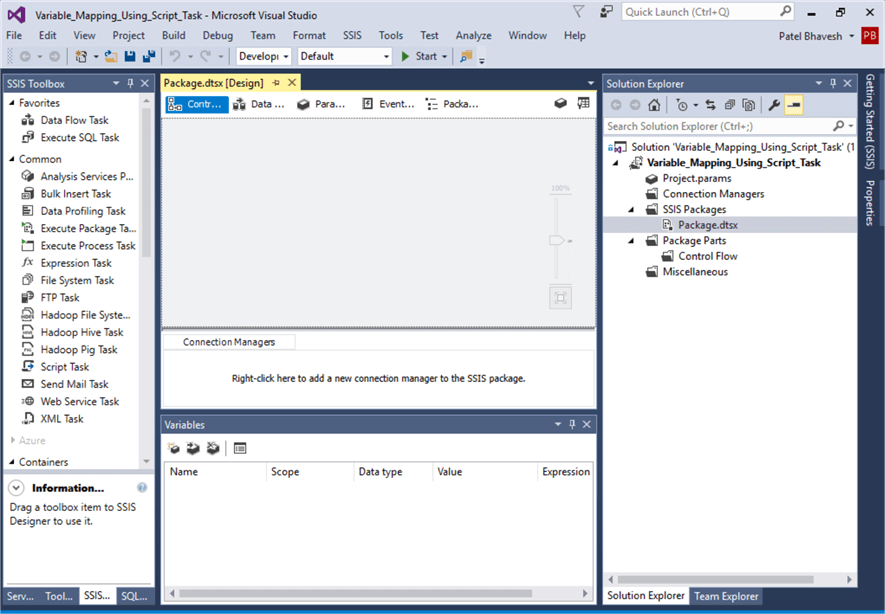 First, I opened SSIS project
