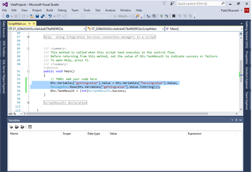 In C#, I wrote the script to mapping variable value. in second line i have added code for display value in messagebox.