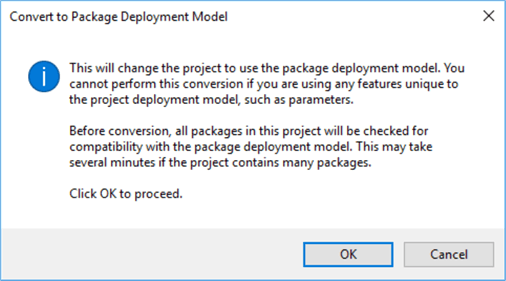 I am going to convert a deployement model, from project to package...