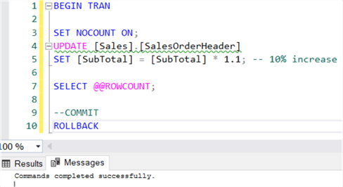 How to use @@ROWCOUNT in SQL Server