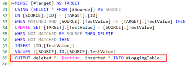 OUTPUT clause in MERGE