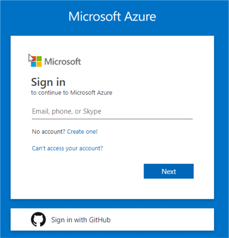 Azure Portal  - Login Information