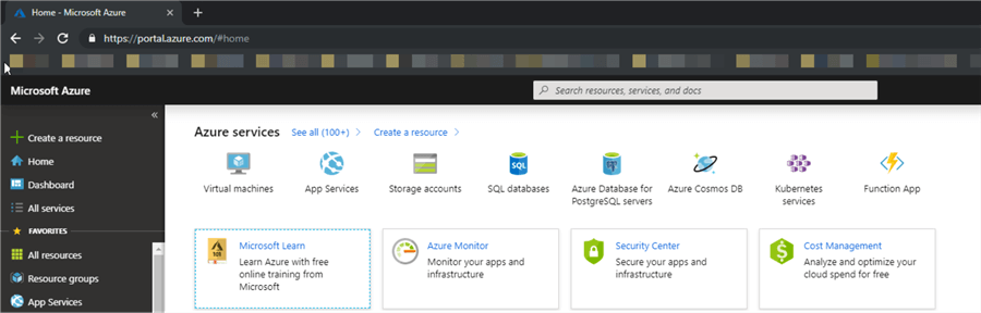 Azure Portal - Home Page