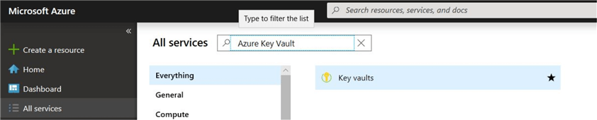 Azure Portal - Search for Azure Key Vault service