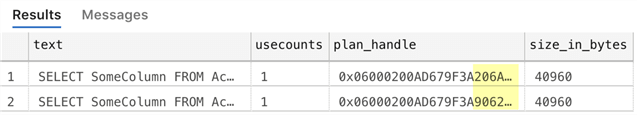 Same query, same plan, but multiple copies in the plan cache.
