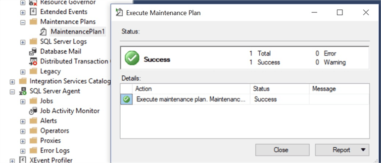 execute maintenance plan
