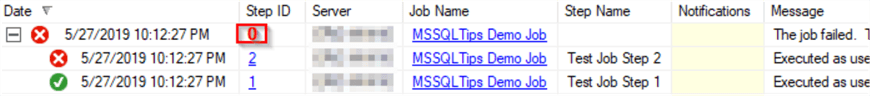 This is a SSMS job history screenshot from the demo job above.  It show 3 rows.  One each for steps 1 and 2.  A third row has no step ID value in the screenshot.  This is the 0 row in the table.