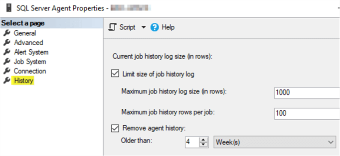 This screenshot shows the SQL Server Agent properties window with the History page up.  This page allows the user to set a limit on rows kept for the job history log.