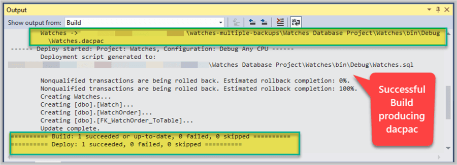 SQL Database Project has been built successfully after making changes.