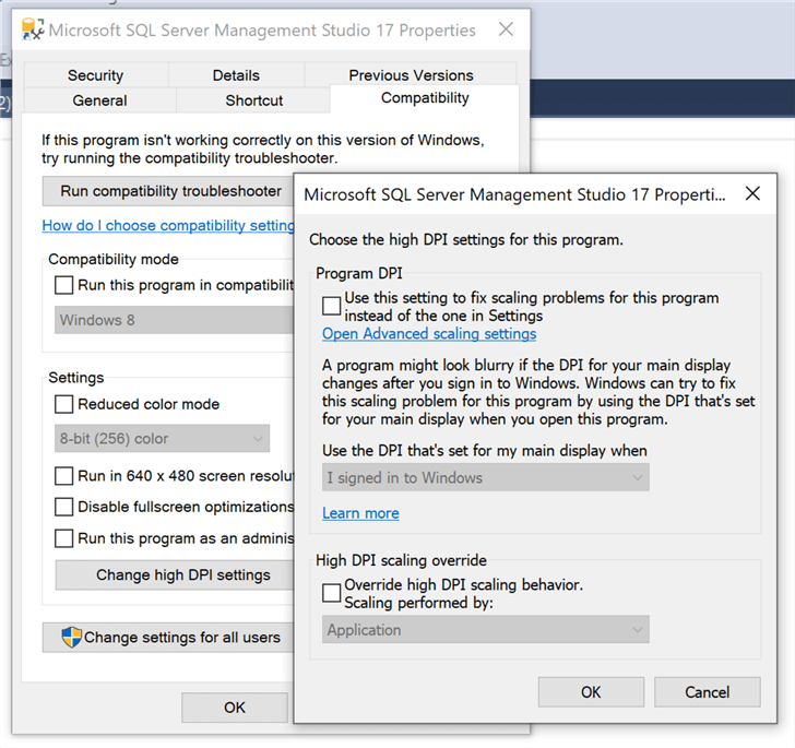 Compatibility settings dialog for the SSMS v17 shortcut