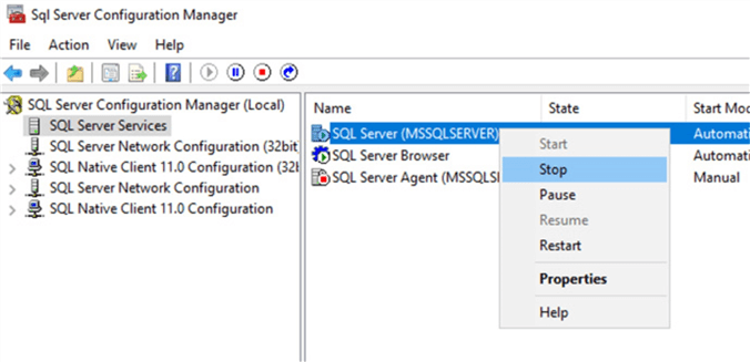 Stopping the default SQL Server instance.
