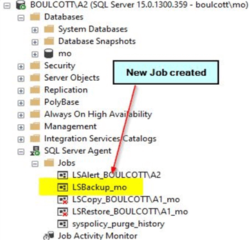 sql agent jobs for log shipping