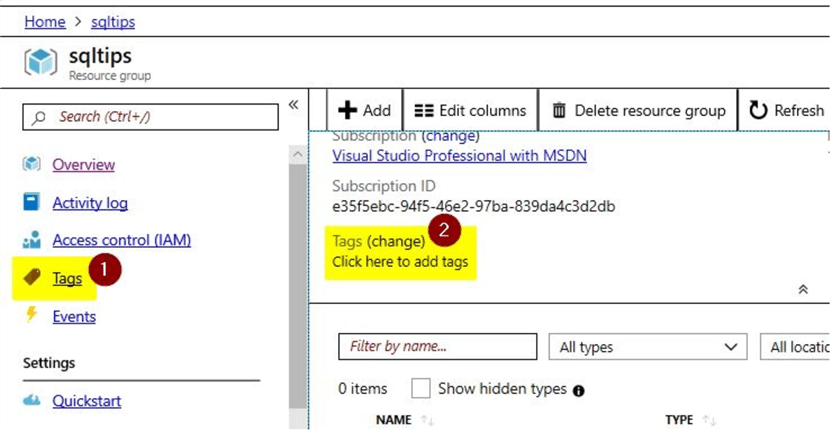 create tags in azure