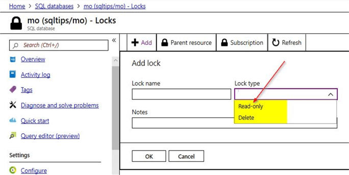 add a read-only azure lock