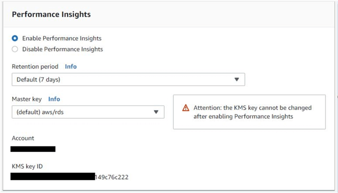How to enable Amazon RDS Performance Insights for a database instance
