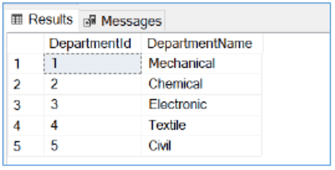 Querying Departments table using T-SQL in SQL Server Management Studio.