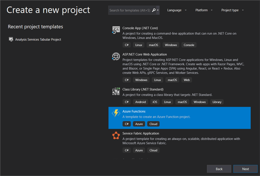 create new azure function