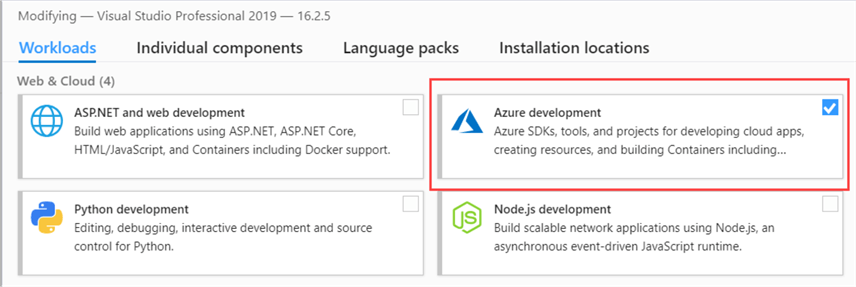 visual studio installer - azure development