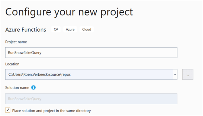 specify project name