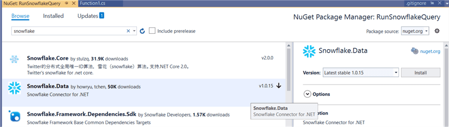 snowflake.data nuget package
