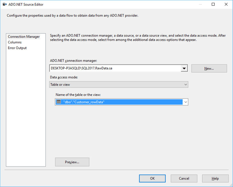 Configure ADO.Net Connection manager