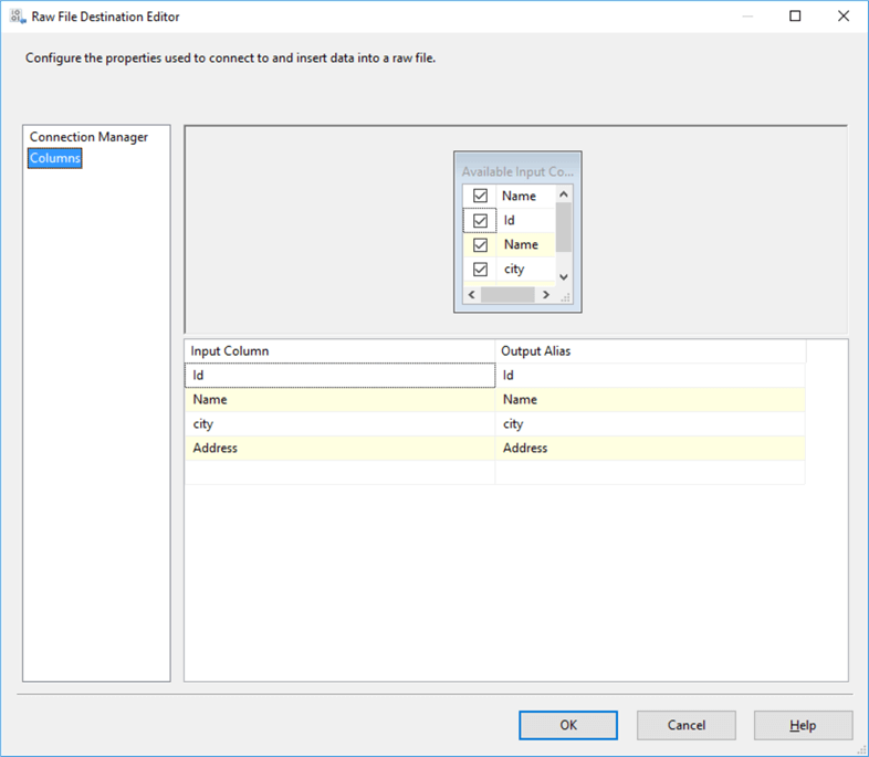 Mapping column to write raw files data