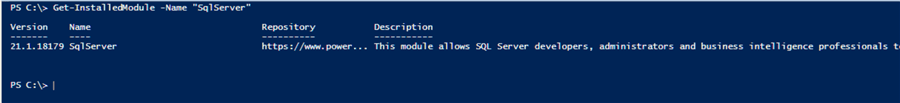 check to see if SqlServer module is installed
