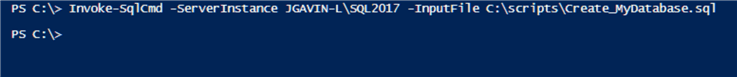 run Create_MyDatabase.sql with Invoke-SqlCmd