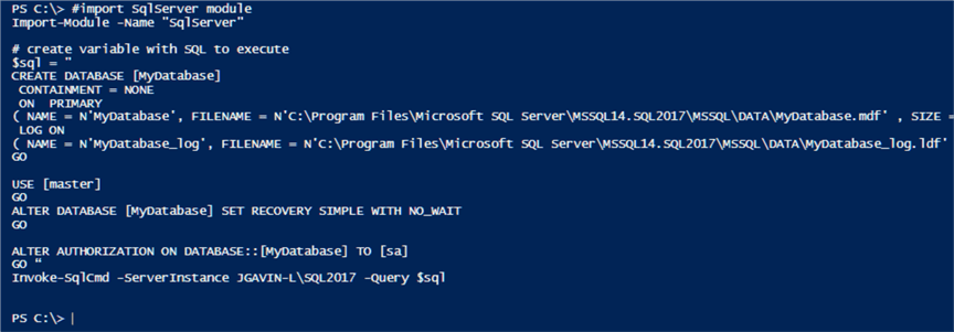 create database with SQL in a PowerShell variable using Invoke-SqlCmd