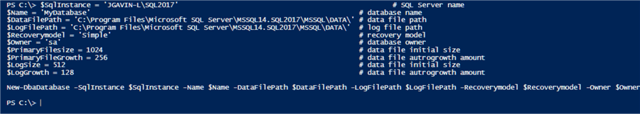 create database with New-DbaDatabase