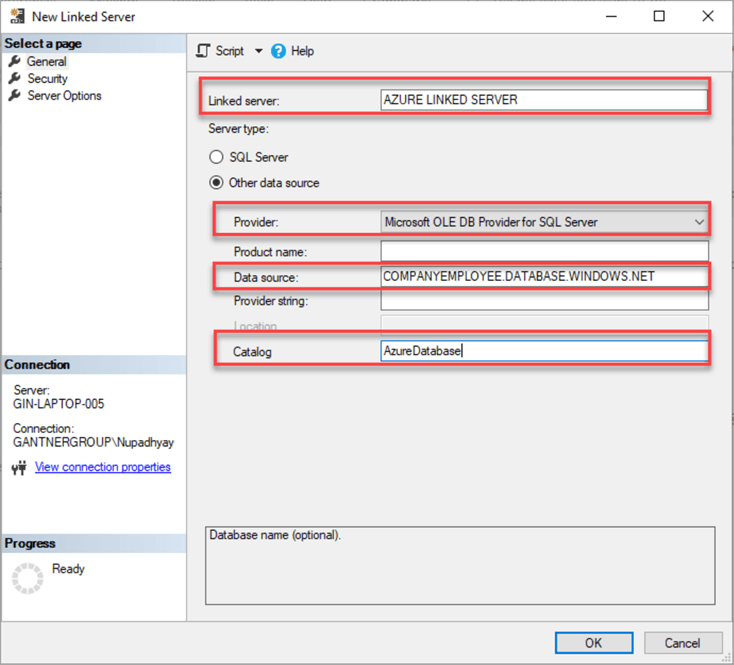 sql server linked server settings